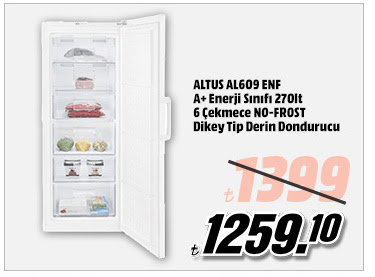 ALTUS AL609 ENF A+ Enerji Sınıfı 270lt 6 Çekmece NO-FROST Dikey Tip Derin Dondurucu 1259,10TL