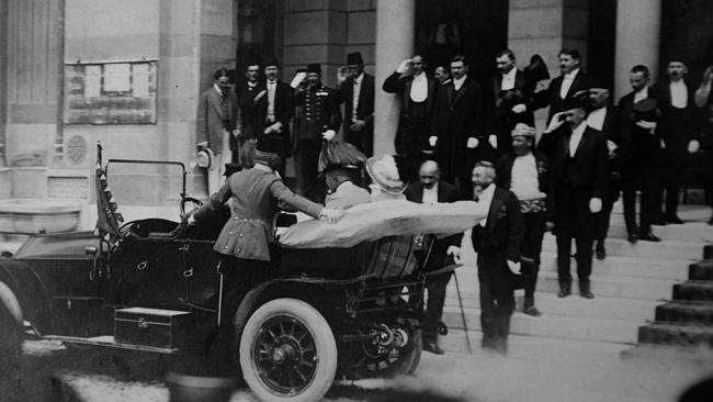 Archduke Franz Ferdinand of Austria and his wife Sophie arrive in their car on a visit to