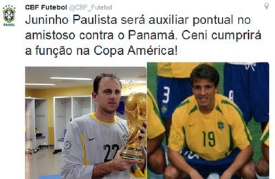 Twitter CBF Rogerio e Juninho (Foto: Reprodução)
