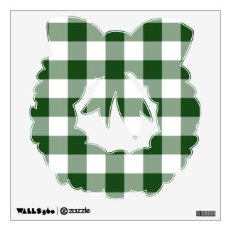 Green and White Gingham Pattern Room Decal