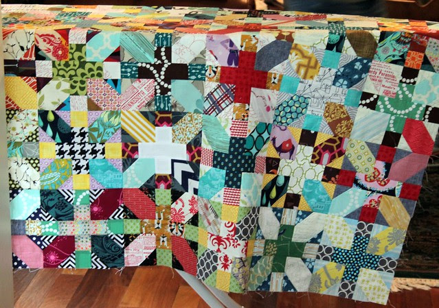 Jessica's beautiful  X &   quilt top -- on the ironing board