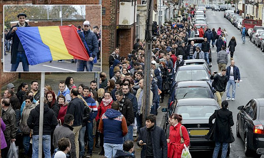 Romanian immigrants queue around the block in Portsmouth to vote