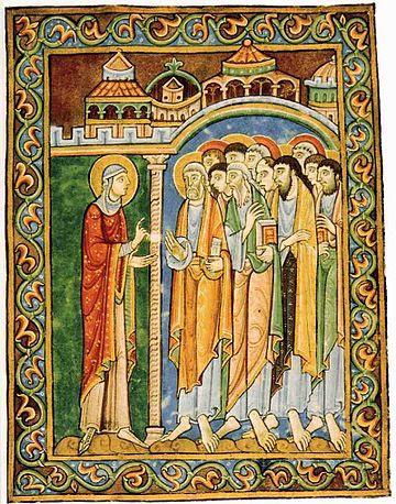 Αποτέλεσμα εικόνας για Святая Мария Магдалина рассказывает святым Апостолам об явлении ей Иисуса Христа