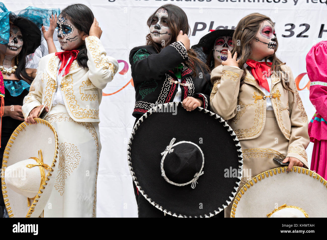Young Women Dressed In La Calavera Catrina Costumes During The Day