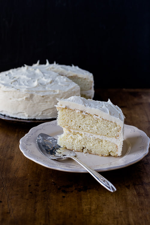 Yellow Cake with Vanilla Bean Buttercream Frosting | the merry gourmet