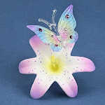 Glass baron butterfly large porcelain lavender lily