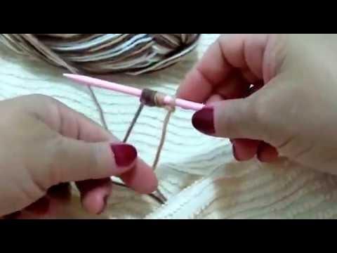 Parte 01/ ...pantufa,  esquenta pés, marrom (matizada)/ números:   33/34, em lã,  tricô, manual... Colocando o fio de lã na agulha