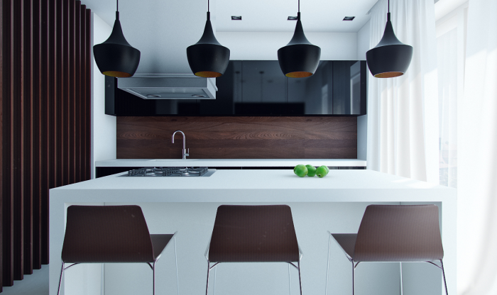This extremely compact kitchen utilizes one side of the kitchen island to accommodate seating.