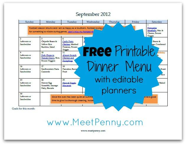 Free Editable September Menu Planner Printable | Free Homeschool ...