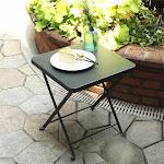 PHI VILLA Outdoor Folding Metal Bistro Side Table Grey