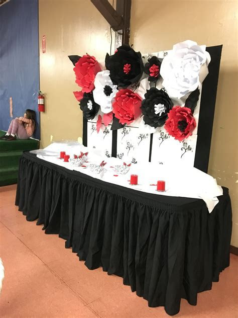 Black , Red and white Paper Flower backdrop Paper Flowers