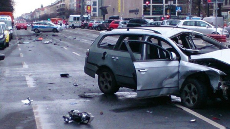 March 15, 2016: This image shows a car believed to have been blown up by a bomb in the Charlottenburg district of Berlin, Germany. (Twitter/@polizeiberlin)