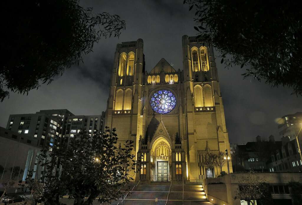 Grace Cathedral has a new look now that the stained glass rose is lighted by a daylight balanced spotlight allowing all the correct colors to be visible. In addition, two spotlights in the arcade above the rose window project colors onto the cathedral's steps as seen in San Francisco, Calif., on Monday, November 23, 2015. Photo: Carlos Avila Gonzalez, The Chronicle