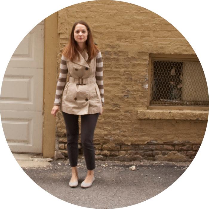 dashdotdotty, layers, fall, sleeveless trench vest thing, stripes, j.crew minnies, studded flats, outfit blog