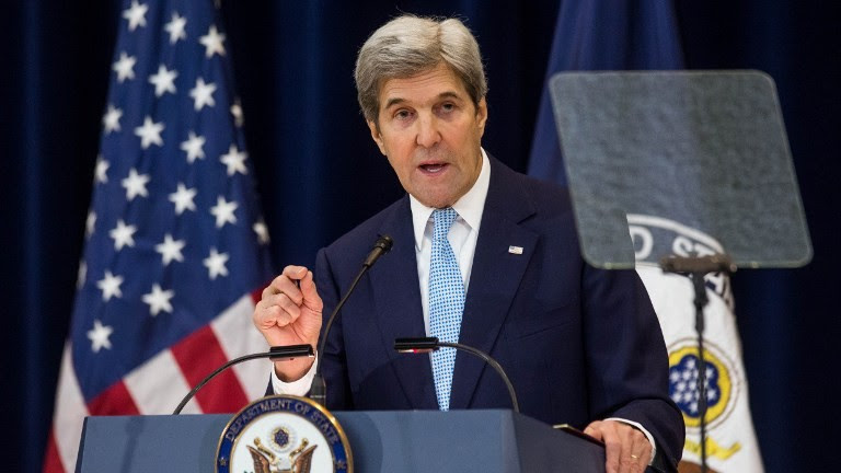 Secretary of State John Kerry delivers a speech on Middle East peace at the Department of State on December 28, 2016, in Washington, DC. (Zach Gibson/Getty Images/AFP)