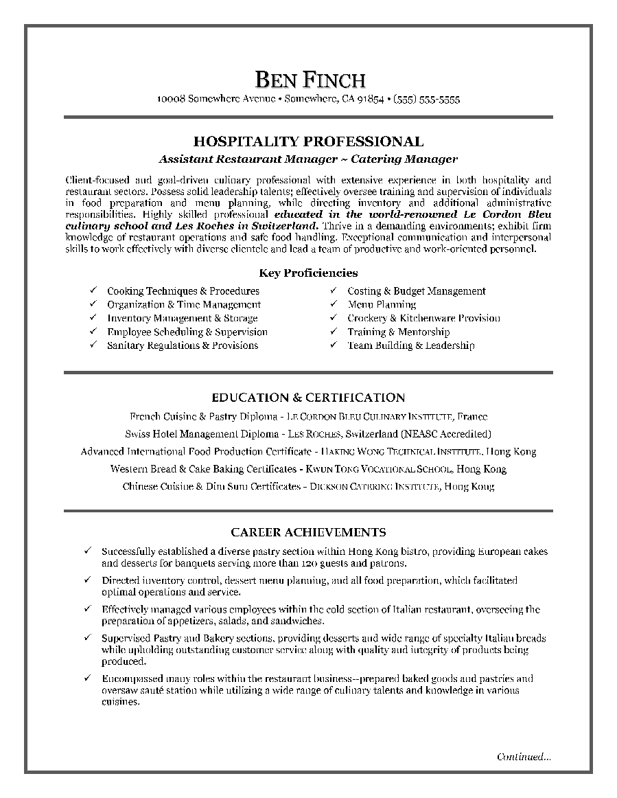 Hospitality Resume Example Page 1