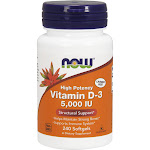 Now Vitamin D-3, 5000 IU, High Potency, Softgel, Larger Size - 240 softgels