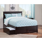 Nantucket Full Platform Bed with Flat Panel Foot Board and 2 Urban Bed Drawers in Espresso