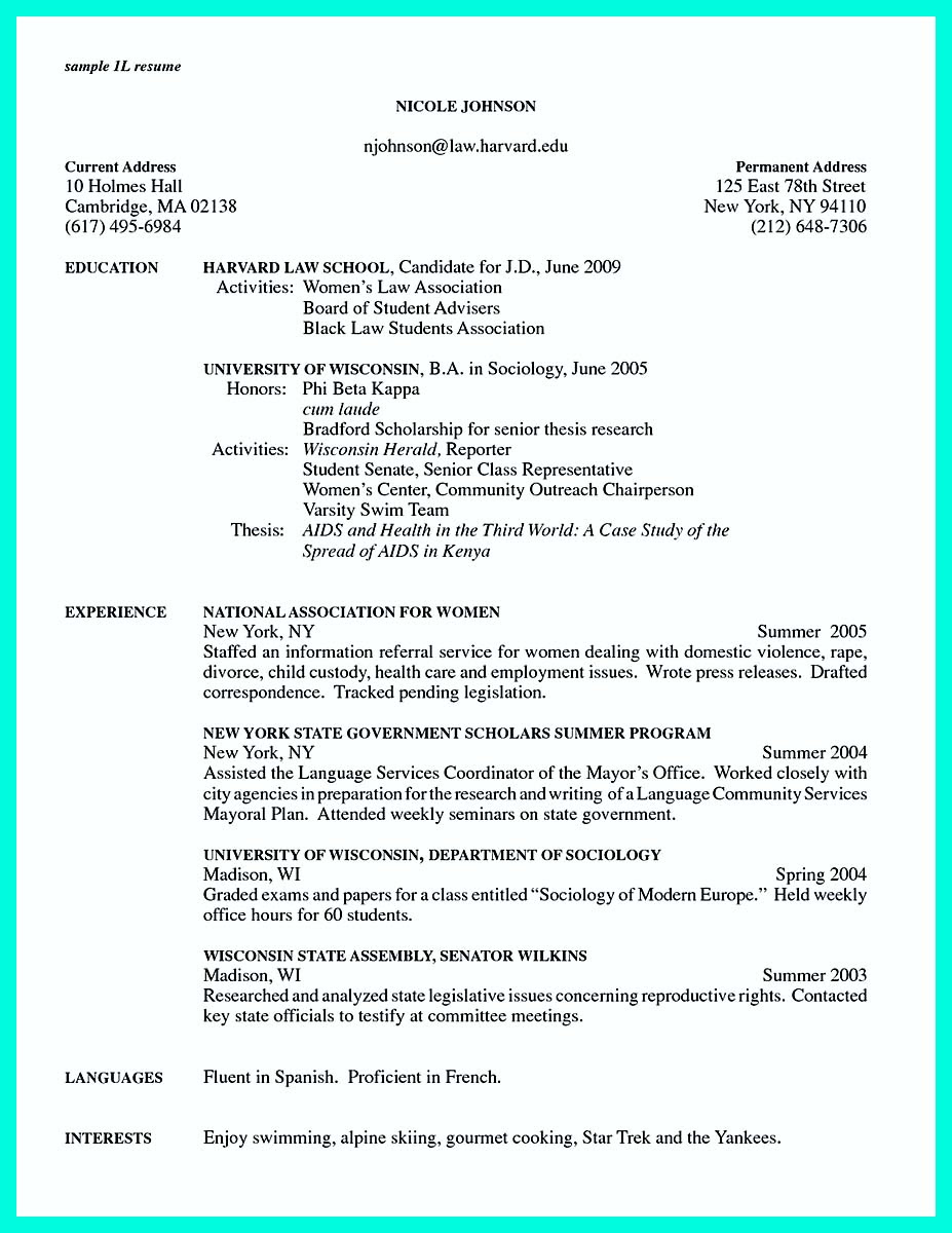 creating a college application resume