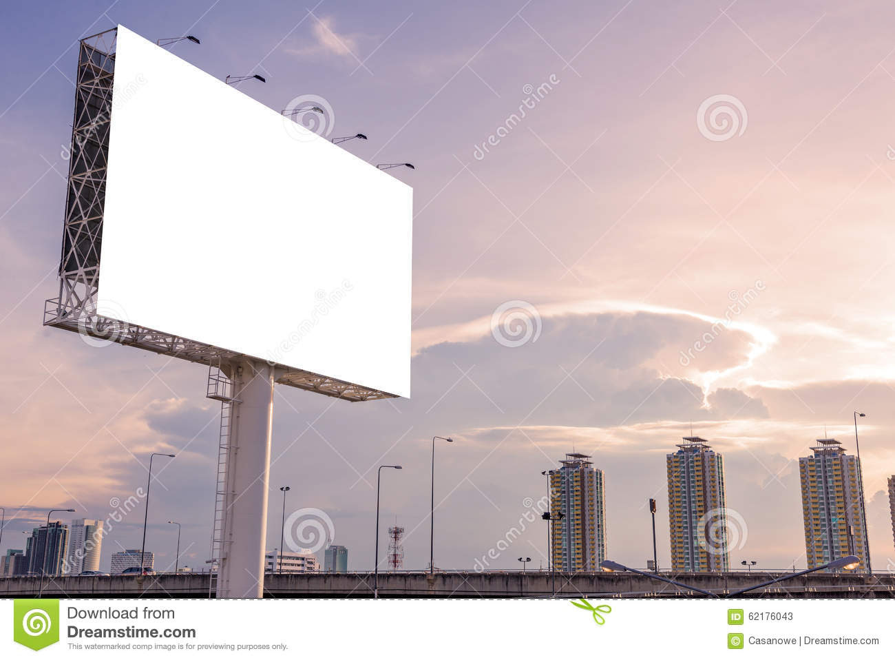 Large Blank Billboard On Building In City View Background Stock ...