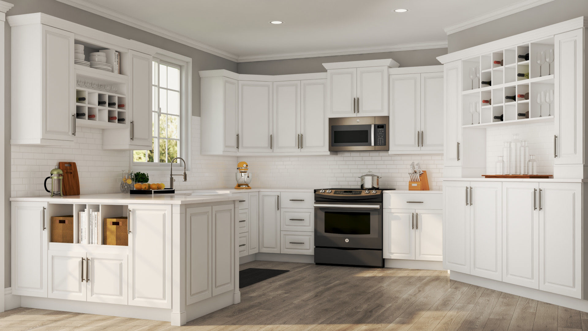 Hampton Wall Cabinets in White - Kitchen - The Home Depot