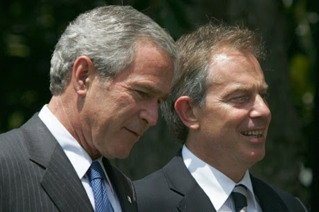 Former President Bush and then British Prime Minister Tony Blair