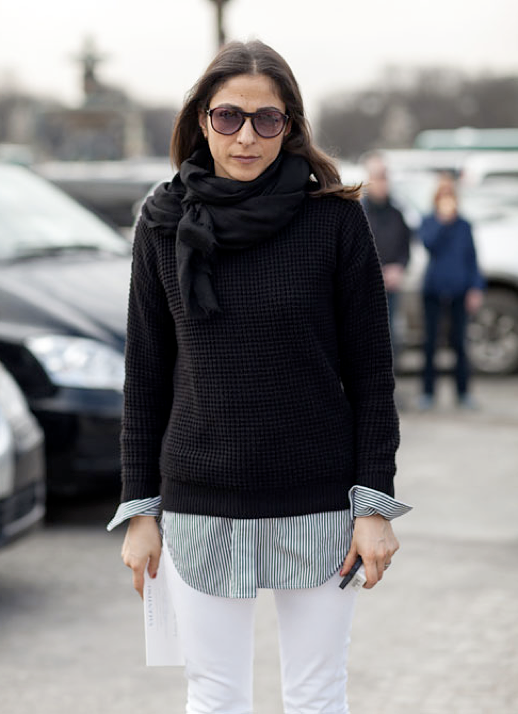 LE FASHION BLOG PARIS FASHION WEEK PFW STREET STYLE VOGUE PARIS MARKET EDITOR CAPUCINE SAFYURTLU BLACK WAFFLE TEXTURED SWEATER LINEN SCARF STRIPE STRIPED BUTTON DOWN BUTTON UP SHIRT SKINNY WHITE JEANS DENIM  via HARPERS BAZAAR