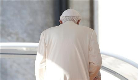 Pope Benedict XVI leaves after his last general audience in St Peter's Square at the Vatican