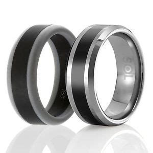 Designed Silicone Rubber Wedding Ring Men Tungsten Wedding