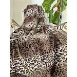 "Leopard Rabbit Faux Fur Soft Throw 50"" x 60"" / Brown"