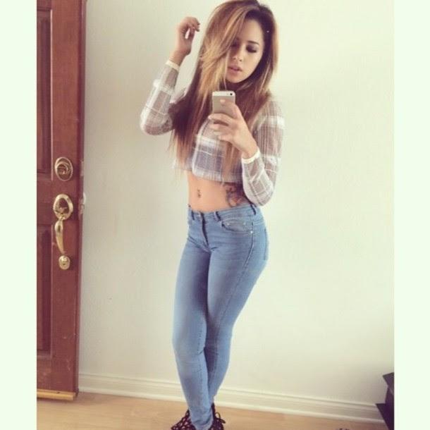 Plaid Jasmine V Instagram Long Sleeves Long Sleeve Crop Top