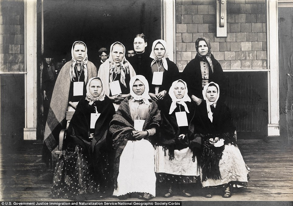 Ellis Island, Statue of Liberty National Monument, New Jersey, New York City, USA --- A portrait of Polish and Slavic immigrant women wearing I.D. tags at the turn of the 20th century