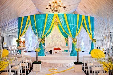 Turquoise & Yellow Fabric Mandap by Elegance Decor Chicago