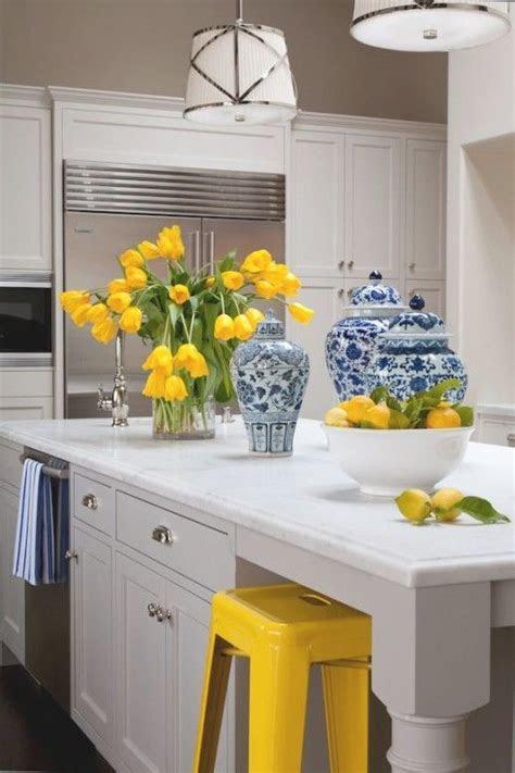 blue yellow kitchens ideas  pinterest yellow