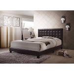 Benzara BM156053 Sophistiated Transitional Style Queen Size Padded Bed Brown