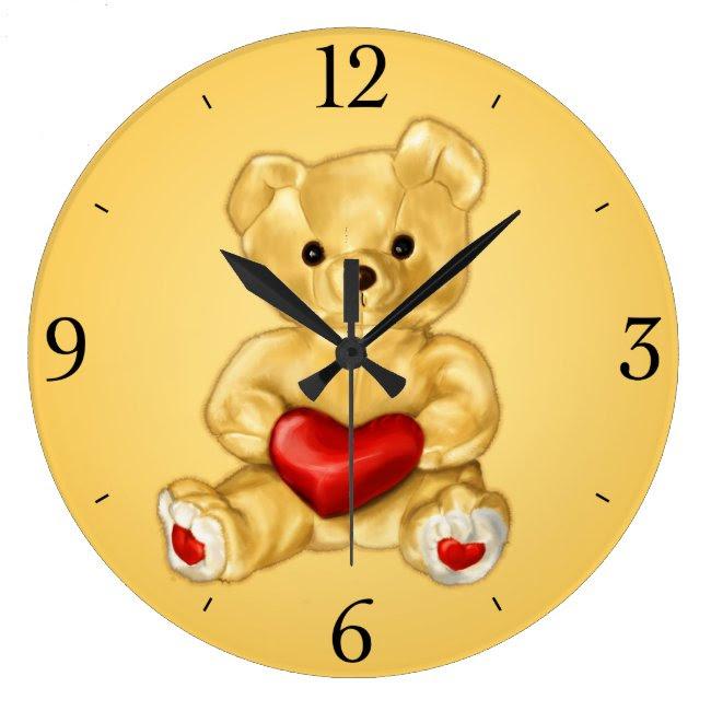 Cute Teddy Bear Hypnotist Yellow Children's Large Clock