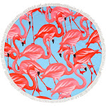 Zodaca Round Beach Towel - 61 Inch Diameter Large Cotton Round Towel Multi function Used as Cover up Sunbath Scarf Wrap Picnic Mat Table Cover