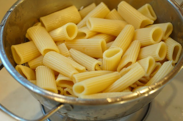 Pasta draining by Eve Fox, Garden of Eating blog, copyright 2011