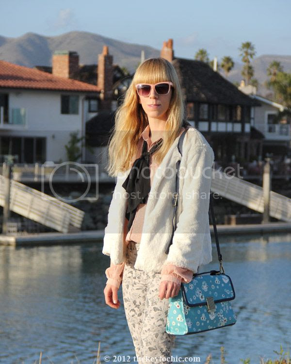 Jason Wu for Target blush dot blouse, Jason Wu for Target floral flap handbag, J Brand floral jeans in sugar cane, southern California street style, Los Angeles fashion blogger