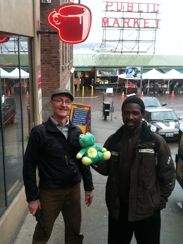 Ed, Frog Quaffer and Mzukisi outside Seattle's Best Coffee