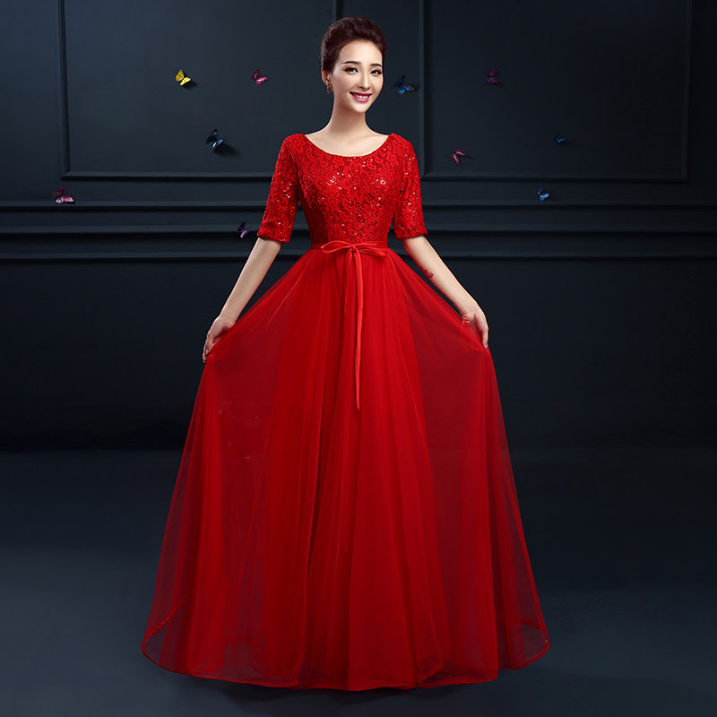 Plus size long red evening dress