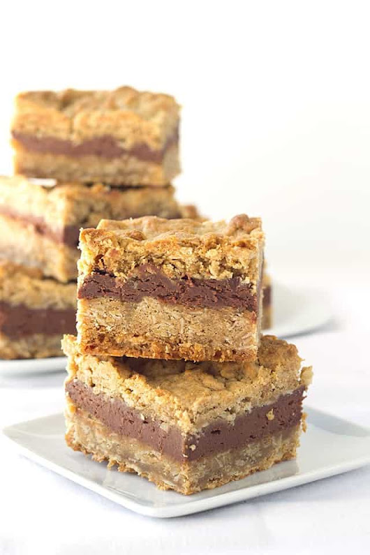 Chocolate Peanut Butter Oatmeal Bars - Cookie Dough and Oven Mitt