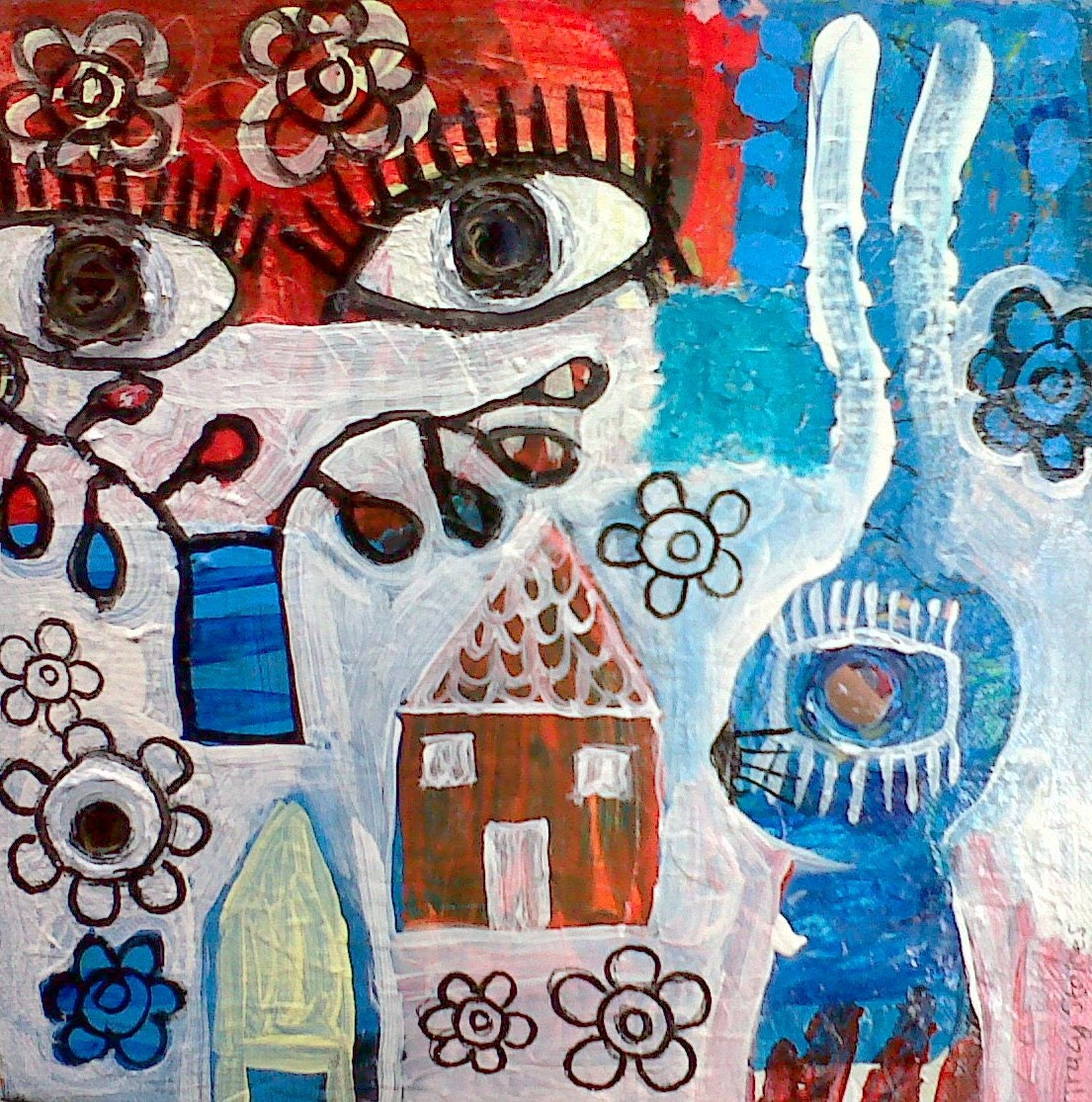 SPYING ON BUNNY original painting -outsider art - mixed media  -  naive - folk art - contemporary