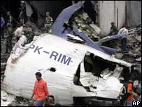 The crash site of Mandala Airlines flight A330
