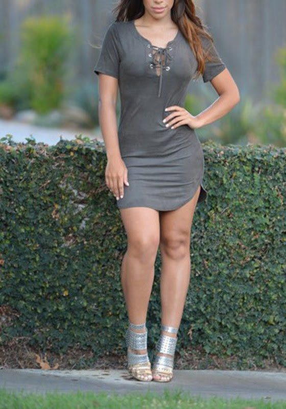 Plain Bodycon Short Dresses Neck Round Sleeve Belt vintage inspired
