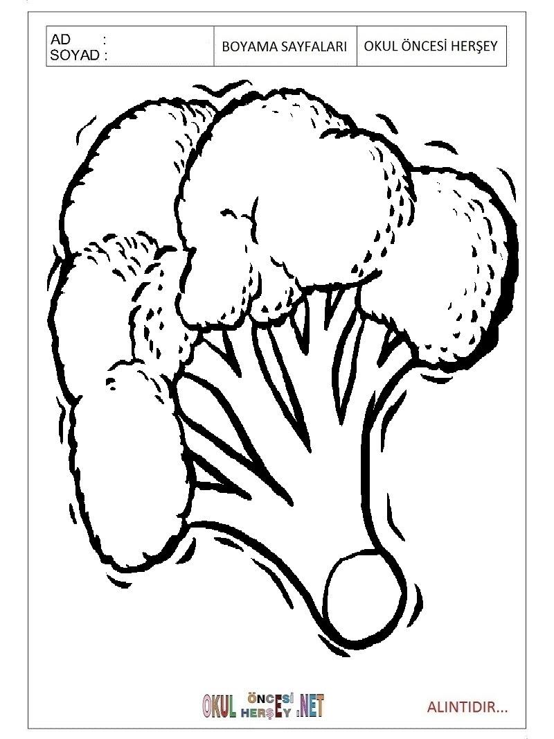 Brokoli Boyama Sayfaları