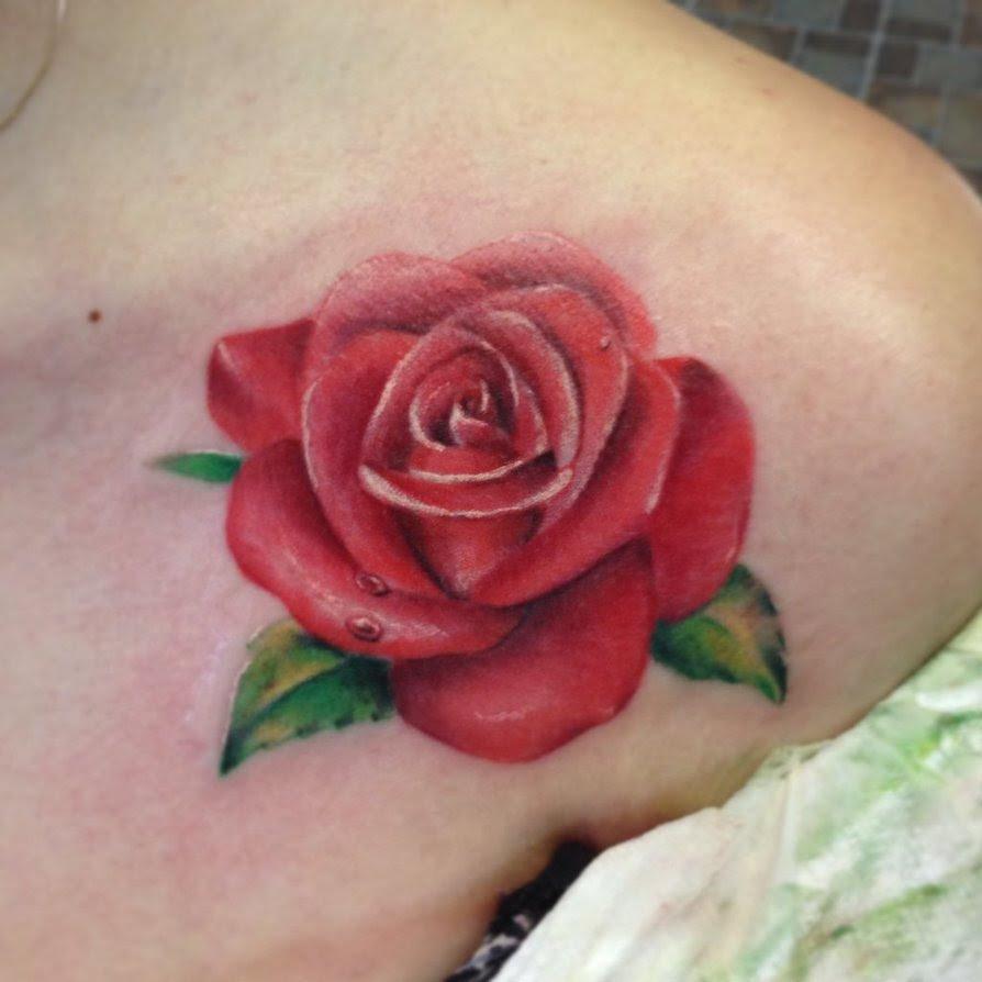 Stylish Red Rose Tattoo Design