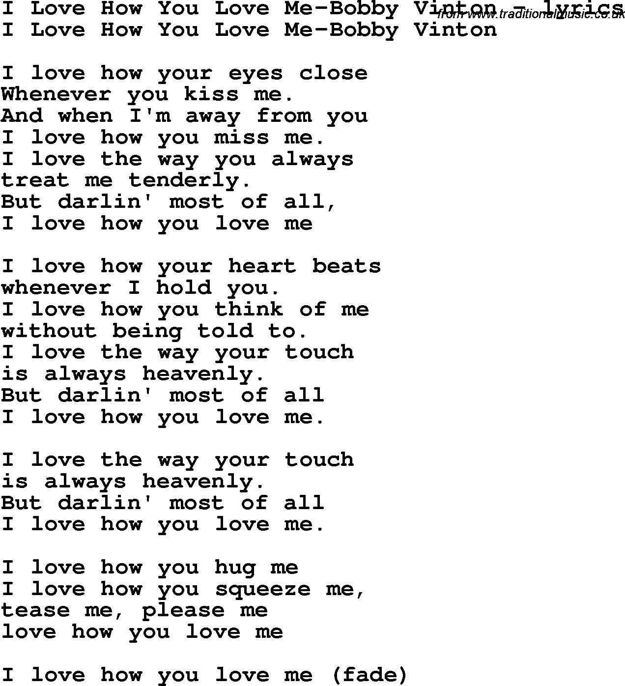 Love Song Lyrics Fori Love How You Love Me Bobby Vinton