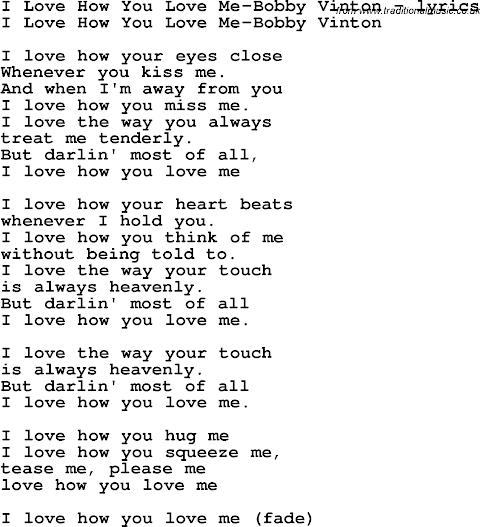 I Love How You Love Me Lyrics Bobby Vinton