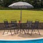 6pc Black Patio Set & Umbrella